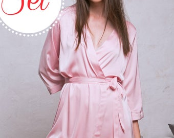 Pink Robes, Blush Satin Bridesmaid Robes SET OF 3, 4, 5, 7, 10 Silky Satin Pink Bridal Party Kimono Dressing Gown, Rose Quartz Wedding Robe