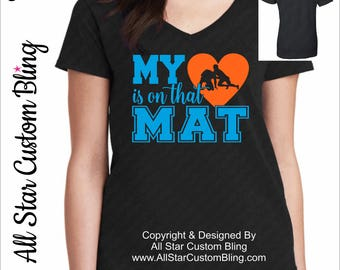 Wrestling Shirt, My Heart Is On That Mat Wrestling Shirt, Wrestling Mom Shirt,Mom Wrestling Shirt,Custom Wrestling Shirt,Shirt Wrestling Mom