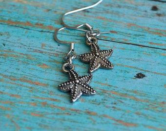 Starfish earrings, Minimalist earrings, Starfish jewelry, Sea star earrings, Charm earrings, Gift idea, Gift under 10 dollar, Nautical gift