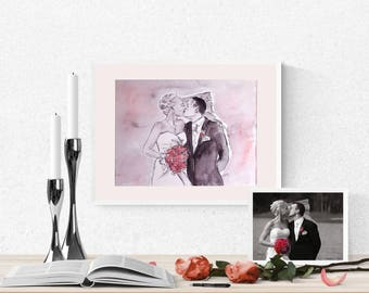 hand painted custom wedding portrait, family portrait from photograph, water color art, gift for bride groom, gift for parents, wedding gift