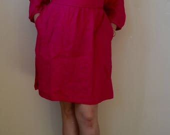 Hot pink linen dress with pockets and attached wrap belt- S/M