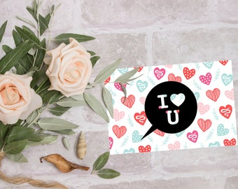 I love you card, 4x6 printable love card instant download, Valentine card, balloon and hearts, love prints, digital cards, love postcards