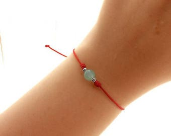 Red Bracelet - Green Jade Bracelet - Bridesmaid Gift - Best Friend Gift - Gemstone Bracelet - Yoga Jewelry