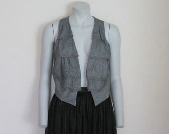 Women's Vest Grey Cotton Cropped  Women Vest Romantic Gray  Crop  Studded Waistcoat  Medium Size
