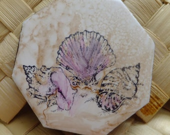 Ceramic Tile Magnet.  With hand stamped painted,  shells