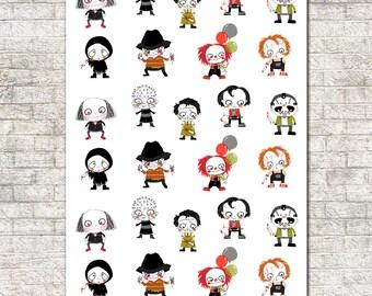 Horror Movie Character Stickers. Movie Night, Horror Film, Scary Movies, Halloween, Fright Night, Halloween Costume
