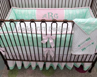 Pink & Mint Arrows Baby Girl Bedding: Ava Grace is Right on Target!