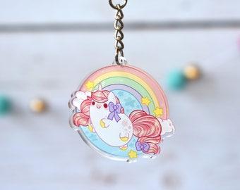 Kawaii Rainbow Unicorn Acrylic Charm Keychain