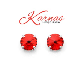 LIGHT SIAM RED 12mm Round Stud or Drop Earrings Swarovski Elements *Pick Your Finish *Karnas Design Studio *Free Shipping*