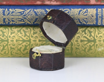 Antique Ring Box Octagonal Burgundy Engagement or Wedding Ring Box