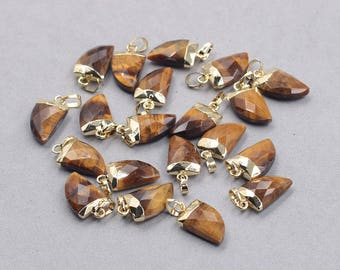 16mm Faceted Tiger Eye Small Horn Pendants -- With Electroplated Gold Edge Gemstone Charms Wholesale Supplies YHA-328