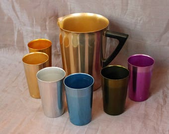 Bascal Pitcher and 6 Tumblers/Glasses ~ Aluminum Drink-Ware ~ Atomic Rainbow  Anodized Tumblers