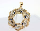 14K Diamond and Sapphire Wreath Pendant