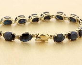 14K Yellow Gold Bracelet with Blue Oval cut Sapphires