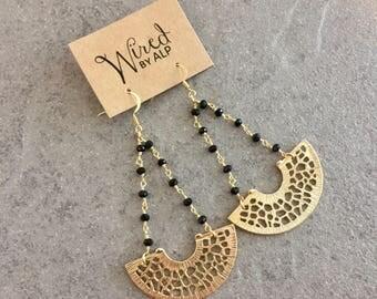 Dark Side Earrings / Crescent drop earrings with black onyx gemstones
