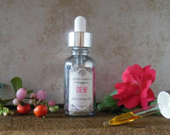 DEW fine facial oil | anti-aging serum of argan, rosehip, rose & honeysuckle for normal, dry, or mature skin | natural face moisturizer