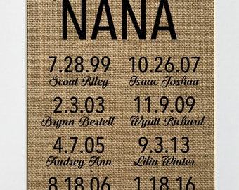 UNFRAMED My Greatest Blessings Call Me Nana / CUSTOM / Burlap Print Sign 5x7 8x10 / Rustic Vintage Home Decor Nursery Love House Sign