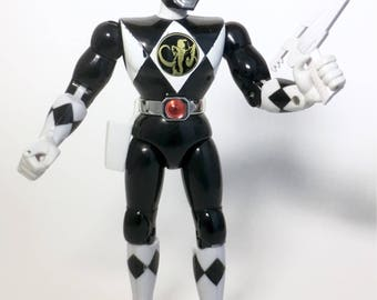 """Vintage Mighty Morphin Power Rangers BLACK 8"""" Action figure Complete Zack 1993 Bandai"""