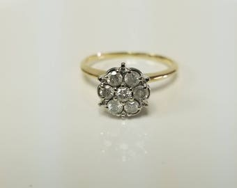 Sale Size 7.25 Estate 10k Yellow Gold .35ct Diamond Wedding Band Ring Stack Star Flower GS1700