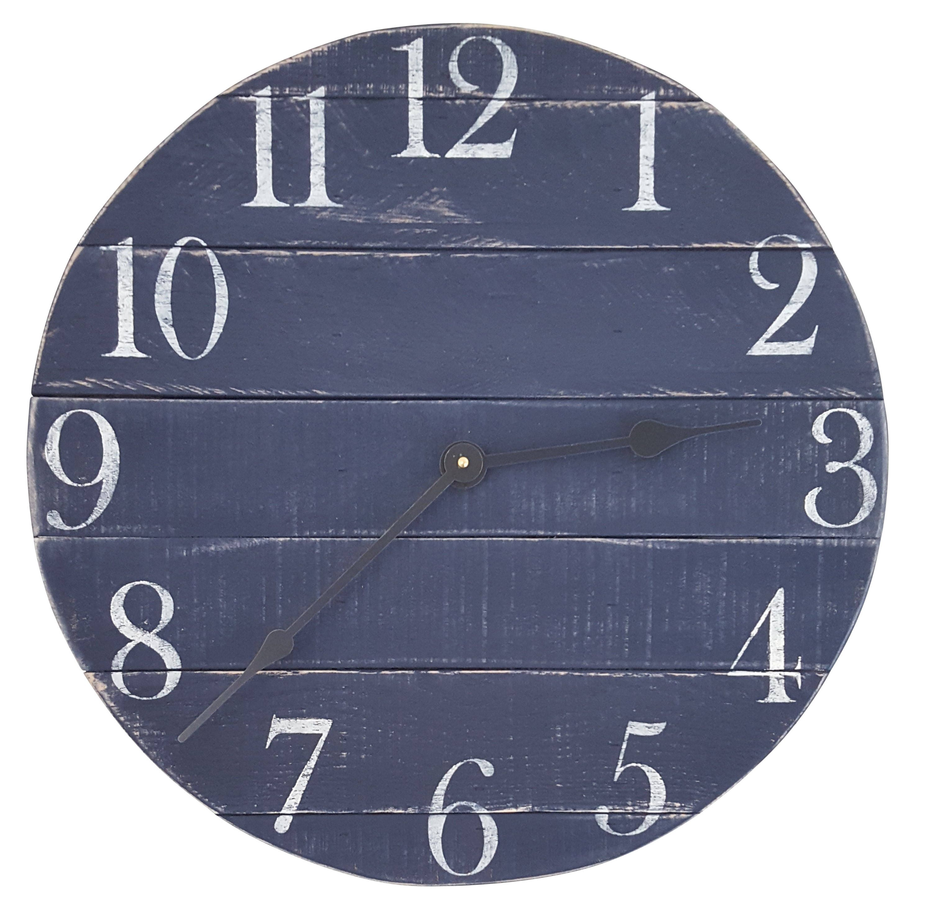 Navy blue clock farmhouse clock reclaimed wood clock small navy blue clock farmhouse clock reclaimed wood clock small clock wall clock rustic clock number clock pallet clock amipublicfo Gallery