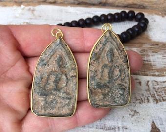 Set of 2 Thai Buddha Amulets / Thai Amulet / Sandstone Amulet / Amulet / Amulet Pendant / Buddhist Amulet