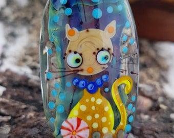 Lampwork cat bead, artisan glass cat focal bead, lampwork glass cat pendant kitten lampwork beads cat gift sra