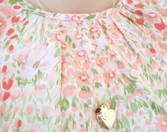 Golden Heart Locket, Shiny Gold Necklace, Romantic Jewelry, Feminine Locket Necklace, Customise Locket, Gift for Her