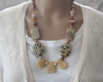 Earthy Necklace, Semi Precious Stone Necklace, Handmade Gemstone Necklace, Modern, Statement Necklace, Chunky, Unique Design, Gift for Wife