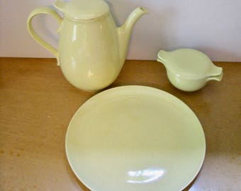 Taylor Smith Taylor Pebbleford Sunburst Yellow speckled china. Teapot, sugar bowl with lid, or dinner plate. Your choice. Mid Century dishes
