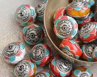 Large Tibetan Amber Resin Rondelle Bead,White Brass End Caps,Turquoise Inlay,Nepal Beads,Focal Bead,Tibetan Beads,Ethnic Beads,Pairs, FOZ15