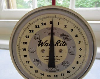 Vintage White And Red Kitchen Scale/Way-Rite Scale/ Farmhouse Kitchen/Kitchen Decor/Red Scale/Farmhouse Scale/Vintage Kitchen