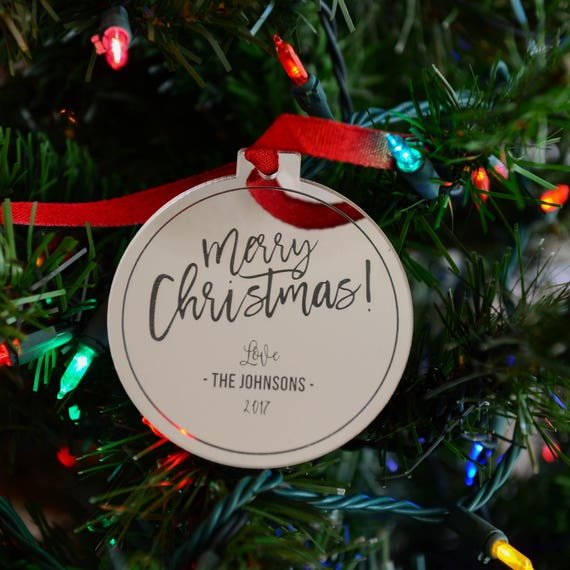Personalized Mirror Ornament - Custom 3 Lines - Gold or Silver - Merry Christmas Design - Holiday Gift for Family, Employees, Clients