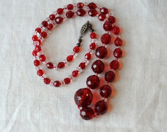 "Vintage Czech Red Crystal Necklace, 24"" Long, Matinee Length, KC098"