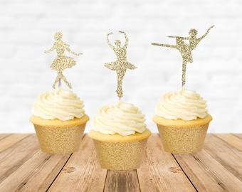 Ballerina Cupcake Topper, Ballerina Cake Topper, Ballerina Party, Ballerina Birthday, Ballerina Baby Shower, Cupcake Picks Decorations