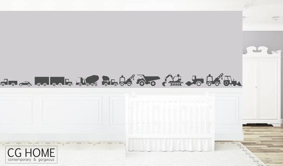 vehicles CAR wall decal vinyl stickers customized cars NURSERY decor Toddlers Room Decoration BOYS room Excavator Bulldozer Crane Bus