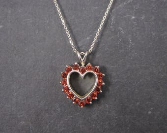Sterling Reversible White Topaz Garnet Heart Pendant