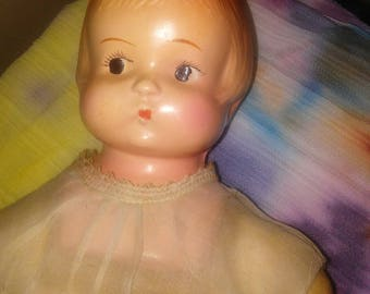 Vintage Composition Doll, Cloth Body, Saw Dust, Half Arms and Full Legs, Composition Head Not Marked MFG.