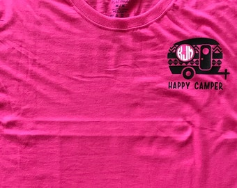 Camper shirt, monogram camper shirt, happy camper shirt, monogram happy camper shirt, monogram shirt, custom, personalized,