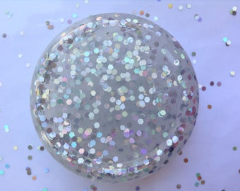 Holographic DISCO BALL glitter clear gray slime// 8 oz holo slime//stress Relief, Therapy tool//