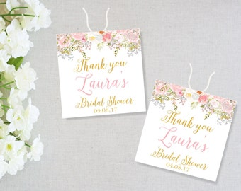 Printable Bridal Shower Tags, Floral Bridal Shower Favor Tags, Thank you Tags, Favor Box Tags, Personalized Bridal Shower, Laura Collection