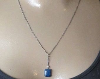 Vintage Sterling Blue Agate Stone Art Deco Necklace 1920's