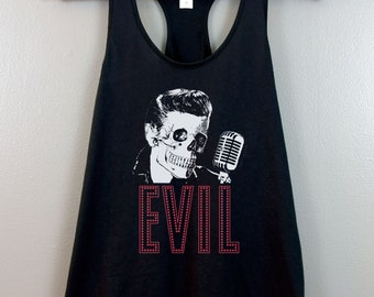 Punk Rock Raceback tank top Lowbrow fashion Nu gothic clothing Evil Elvis Tumblr Aesthetic Pop Surrealism Horror Skull Spooky Pastel goth
