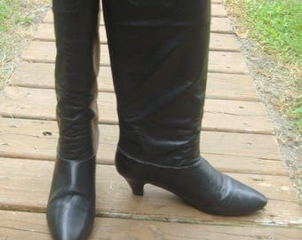 Vintage Tall Black Genuine Leather Knee High Riding Boots~7.5~