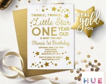 white & GOLD FOIL twinkle twinkle little star 1st birthday invitations | printed first birthday invitations | boy or girl | gold envelopes