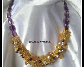 Necklace citrine, Amethyst, agate and silver clasp 925 eme freshwater pearls