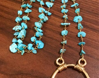 Turquoise Eyeglass Necklace - Eyeglass Chain - Eyeglass Lanyard - Turquoise Nugget Eyeglass Necklace (Item # Eye 61)