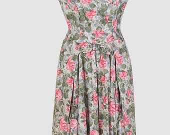 Vintage 1940s Floral Print Dress/Free U.S. Shipping