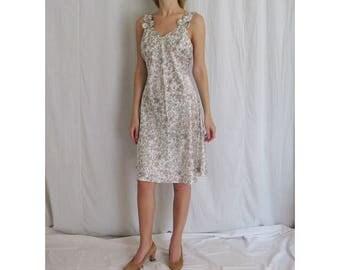 Satin Floral Slip Dress Small