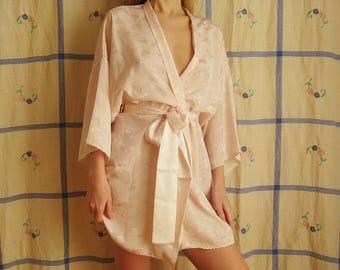 80s Blush Satin Robe S M