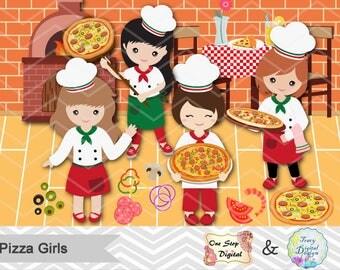 Instant Download Pizza Party Clip Art Pizza Girl Clipart Little Chef Clip art Little Girl Pizza Party Clipart Girls Pizza Party Clipart 0172